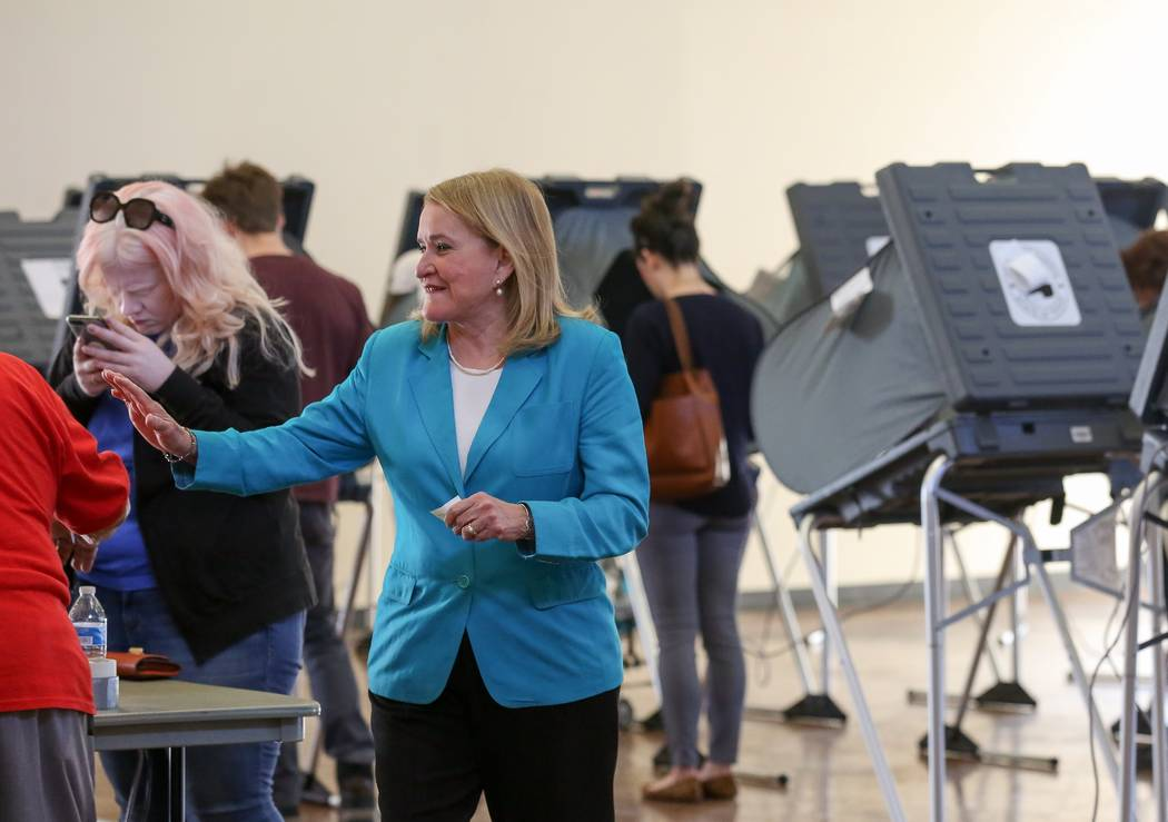 Senator Sylvia Garcia exits the polling stationat the Montie Beach Community Center after voting Tuesday, March 6, 2018, in Houston. Texas Democrats turned out in force ahead of the first-in-the-n ...
