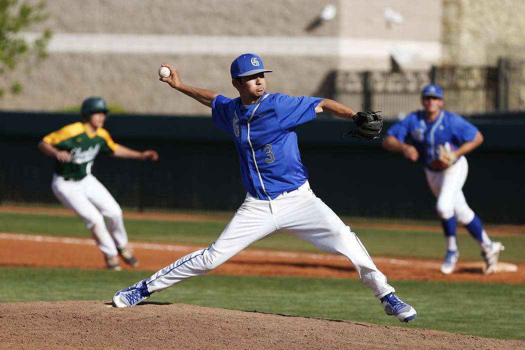 Bishop Gorman's pitcher Brandon White (3) pitches against Clearfield during the third inning at Bishop Gorman High School in Las Vegas on Thursday, April 5, 2018. Andrea Cornejo Las Vegas Review-J ...