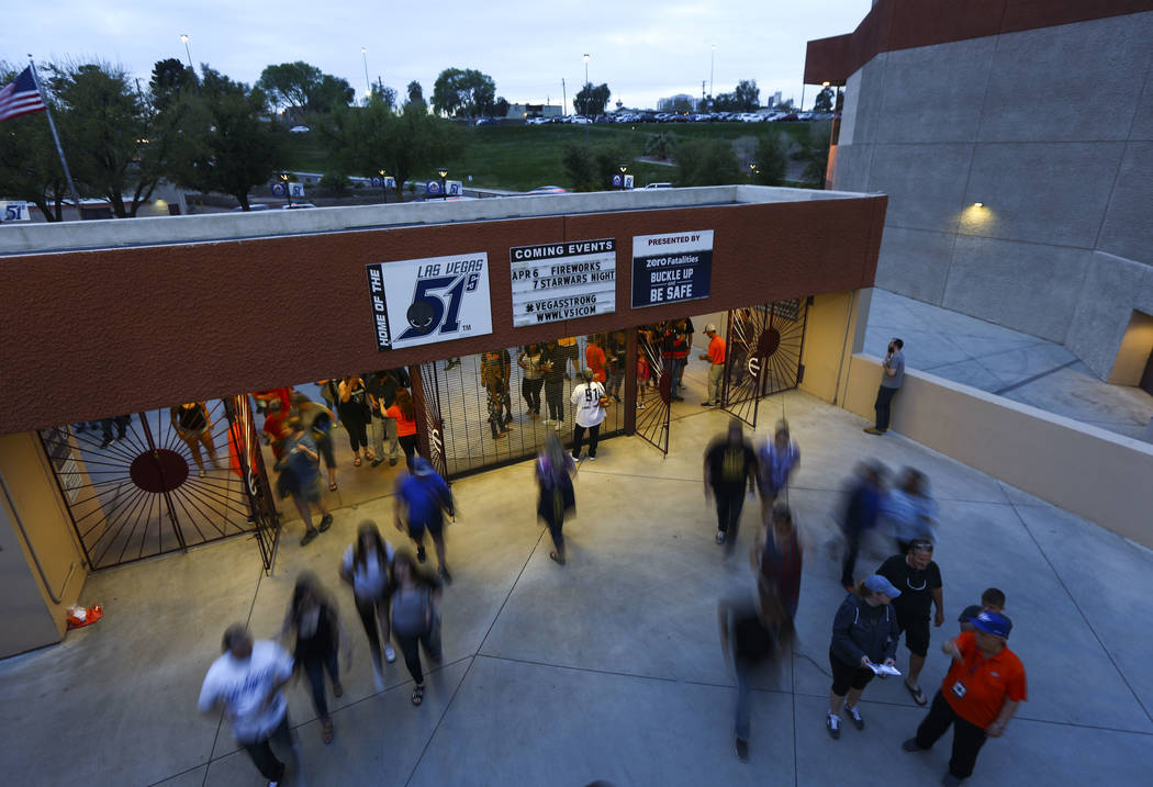 Baseball fans arrive for the opening day game between the Las Vegas 51s and El Paso Chihuahuas at Cashman Field in Las Vegas on Thursday, April 5, 2018. Chase Stevens Las Vegas Review-Journal @css ...