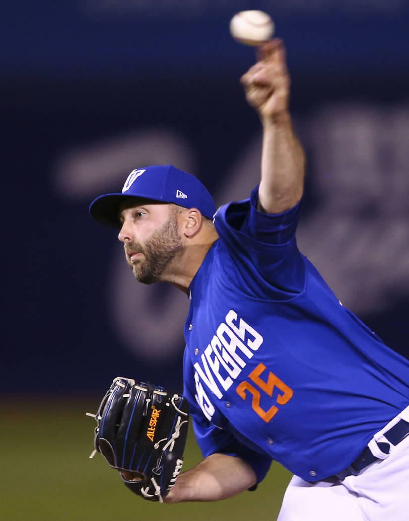 Las Vegas 51s pitcher Kyle Regnault (25) pitches to the El Paso Chihuahuas during the opening day baseball game at Cashman Field in Las Vegas on Thursday, April 5, 2018. Chase Stevens Las Vegas Re ...