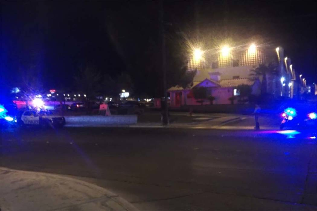 Three people were wounded in a shooting at the Emerald Suites, 4777 Cameron St., across from The Orleans, early Friday morning, April 6, 2018. (Max Michor/Las Vegas Review-Journal)