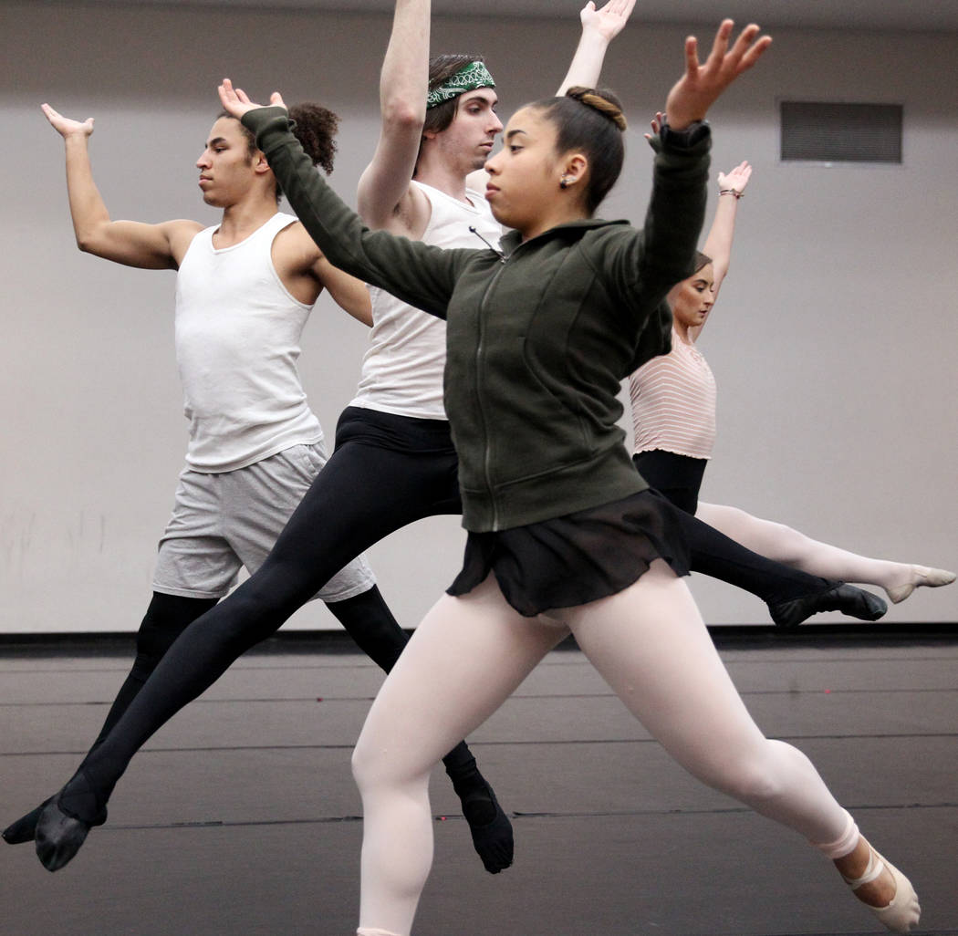 "UNLV dancers, from left, Malik Grey, Anthony AJ Vehec, Roxana Torres and Jayme Evans during rehearsal Thursday, April 5, 2018, for the upcoming ""Carmina Burana"" concert with the Las Vega ..."