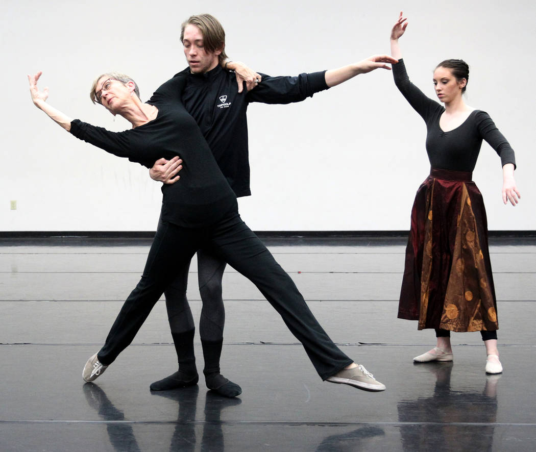 """UNLV dance instructor Clarice Rathers, left, rehearses with UNLV dancers Zack Frongillo and Kalie McLaughlin Thursday, April 5, 2018, for the upcoming """"Carmina Burana"""" concert with the L ..."""