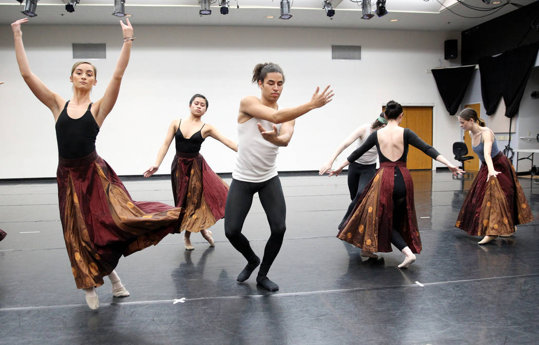 "UNLV dancers, from left, Jayme Evans,, Victoria Patriana and Malik Grey rehearse Thursday, April 5, 2018, for the upcoming ""Carmina Burana"" concert with the Las Vegas Philharmonic at The ..."