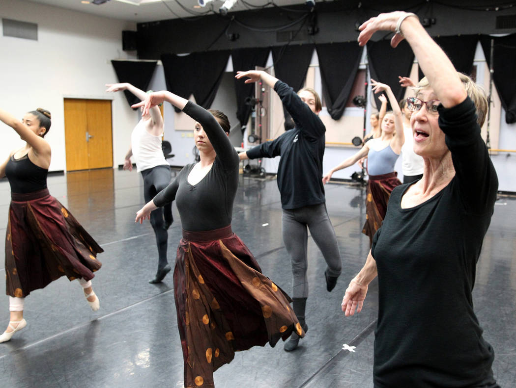 "UNLV dance instructor Clarice Rathers, right, rehearses with UNLV dancers Thursday, April 5, 2018, for the upcoming ""Carmina Burana"" concert with the Las Vegas Philharmonic at The Smith ..."