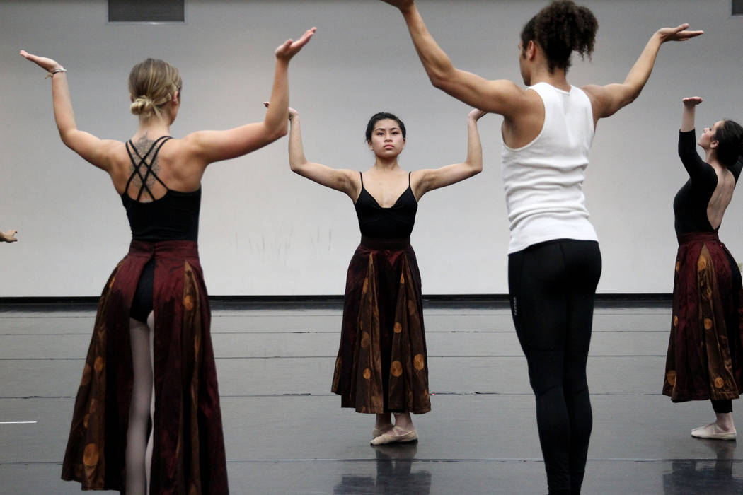 "UNLV dancers, from left, Jayme Evans, Victoria Patriana, Malik Grey and Kalie McLaughlin rehearse Thursday, April 5, 2018, for the upcoming ""Carmina Burana"" concert with the Las Vegas Ph ..."