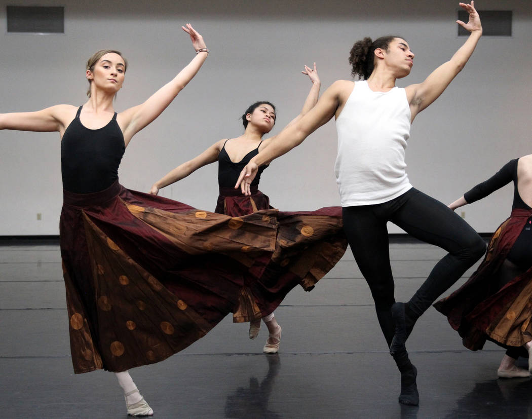 "UNLV dancers, from left, Jayme Evans, Victoria Patriana and Malik Grey rehearse Thursday, April 5, 2018, for the upcoming ""Carmina Burana"" concert with the Las Vegas Philharmonic at The ..."