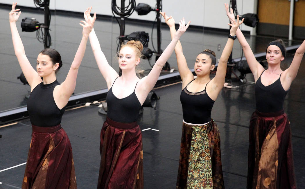 "UNLV dancers, from left, Molly Harris, Katelyn Canale, Roxana Torres and Cara Hewitt rehearse Thursday, April 5, 2018, for the upcoming ""Carmina Burana"" concert with the Las Vegas Philha ..."