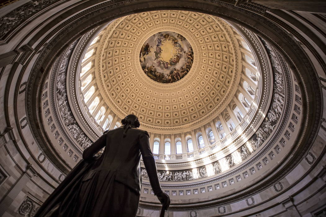 The Capitol Rotunda is seen with the statue of George Washington in January 2018. (AP Photo/J. Scott Applewhite)