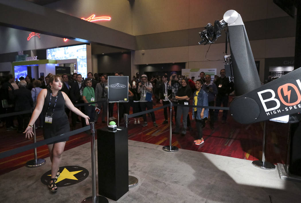 National Association of Broadcasters exhibition, the NAB Show, at the Las Vegas Convention Center, Monday morning, April 9, 2018. Richard Brian Las Vegas Review-Journal @vegasphotograph