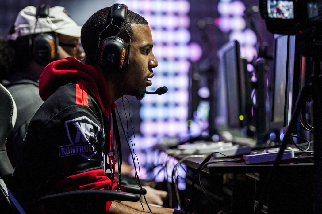 "Demacro Gaines, known as ""Drix,"" plays Gears of War while competing in the Gears Pro Circuit Las Vegas Open at Caesars Entertainment Studios in Las Vegas on Friday, April 6, 2018.  Patri ..."
