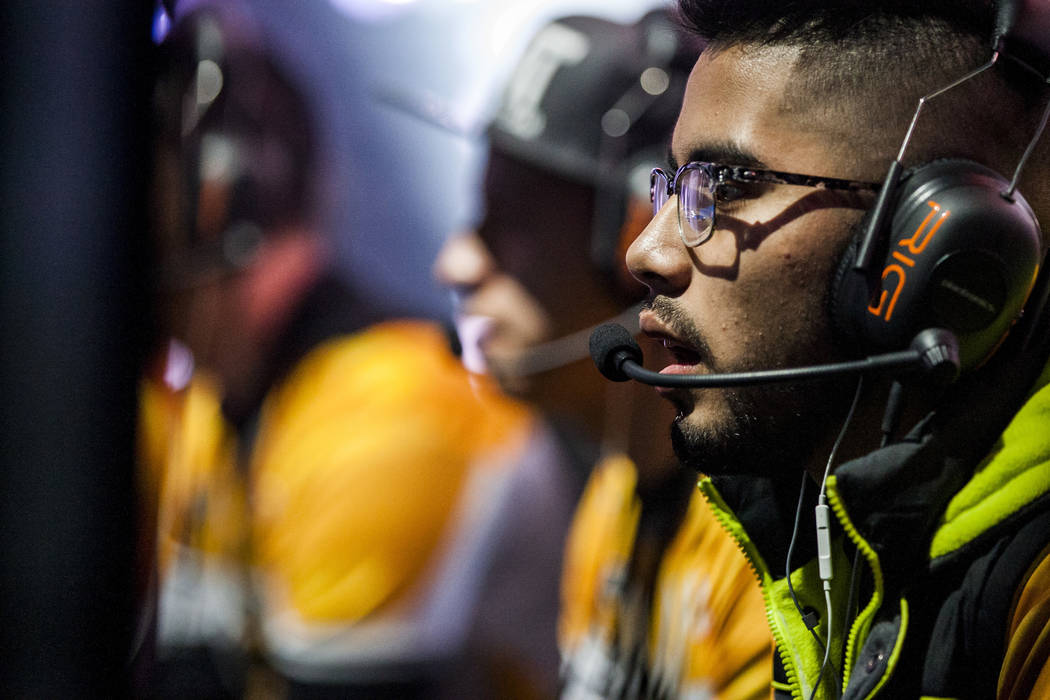 "Carlos Minguez, known as ""Monkyz,"" plays Gears of War with his team Ronin while competing in the Gears Pro Circuit Las Vegas Open at Caesars Entertainment Studios in Las Vegas on Friday, ..."