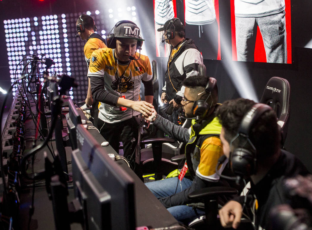 Team Ronin players celebrate after winning a Gears of War round against Rise Nation at Caesars Entertainment Studios in Las Vegas on Friday, April 6, 2018.  Patrick Connolly Las Vegas Review-Journ ...