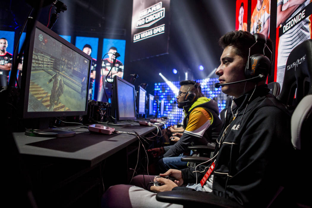 "Rogelio Rojo, known as ""Sleeafer,"" plays Gears of War with his team Ronin while competing in the Gears Pro Circuit Las Vegas Open at Caesars Entertainment Studios in Las Vegas on Friday, ..."