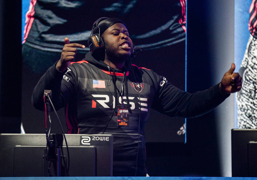 "Frank Tibbs Jr., known as ""FranKo,"" celebrates after beating team Ronin in a round of Gears of War during the Gears Pro Circuit Las Vegas Open at Caesars Entertainment Studios in Las Veg ..."