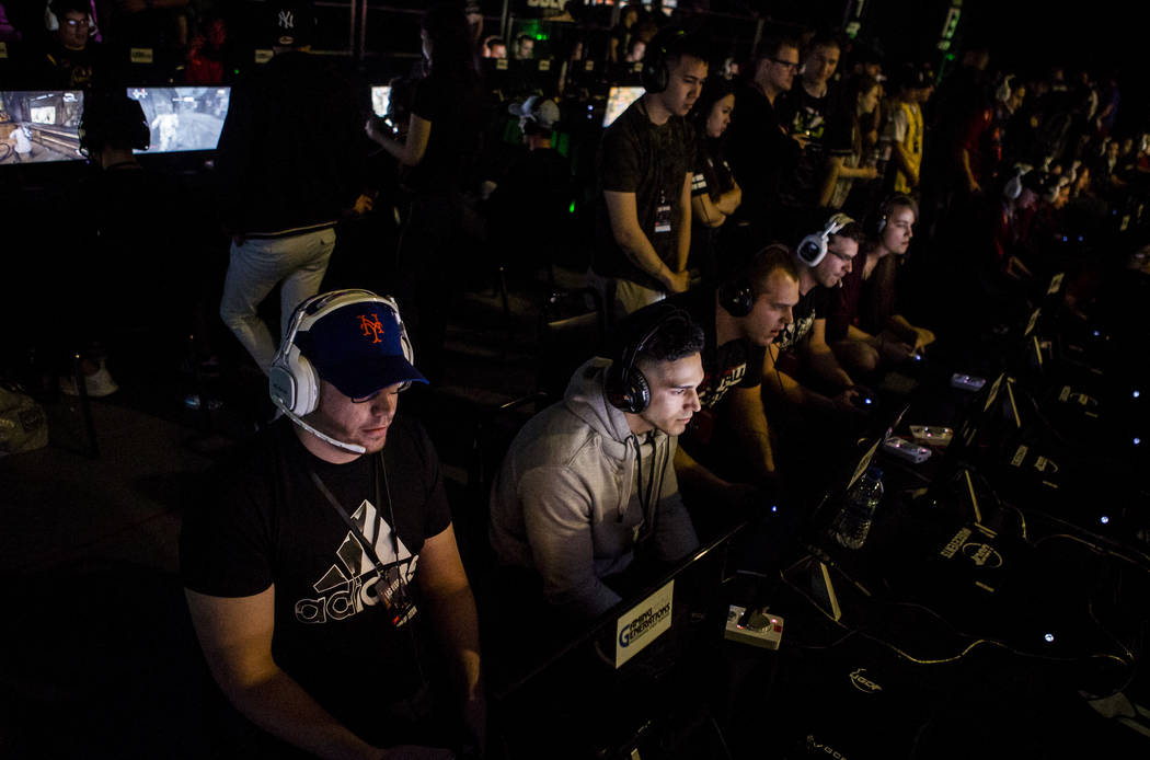 Gears of War players compete in the Gears Pro Circuit Las Vegas Open at Caesars Entertainment Studios in Las Vegas on Friday, April 6, 2018.  Patrick Connolly Las Vegas Review-Journal @PConnPie