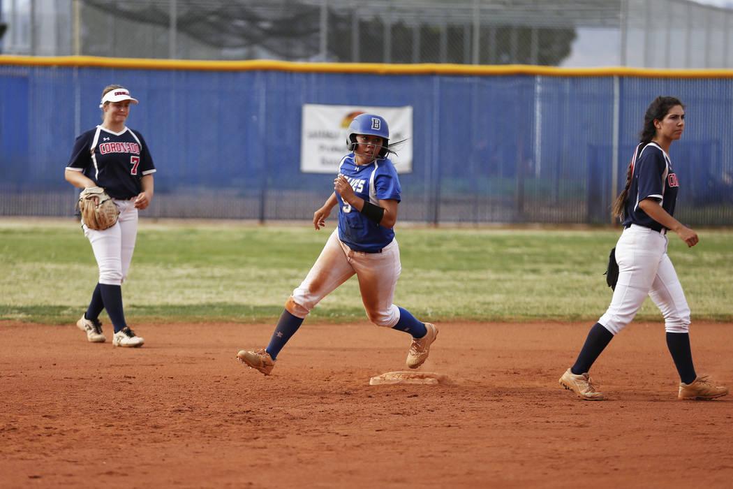 Basic's Sanoe Helenihi (9) runs for third base against Coronado during the fourth inning at Basic High School in Henderson on Friday, April 6, 2018. Basic won 4-3. Andrea Cornejo Las Vegas Review- ...