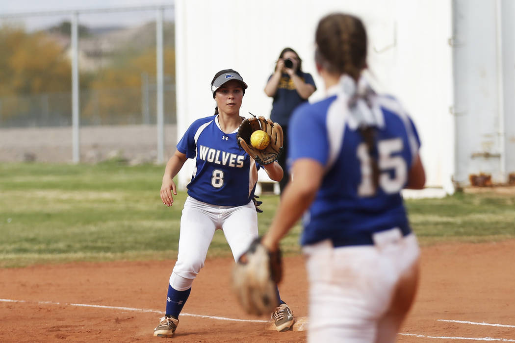 Basic's Hannah Barra (8) catches a throw on a ground out against Coronado at Basic High School in Henderson on Friday, April 6, 2018. Basic won 4-3. Andrea Cornejo Las Vegas Review-Journal @dreaco ...