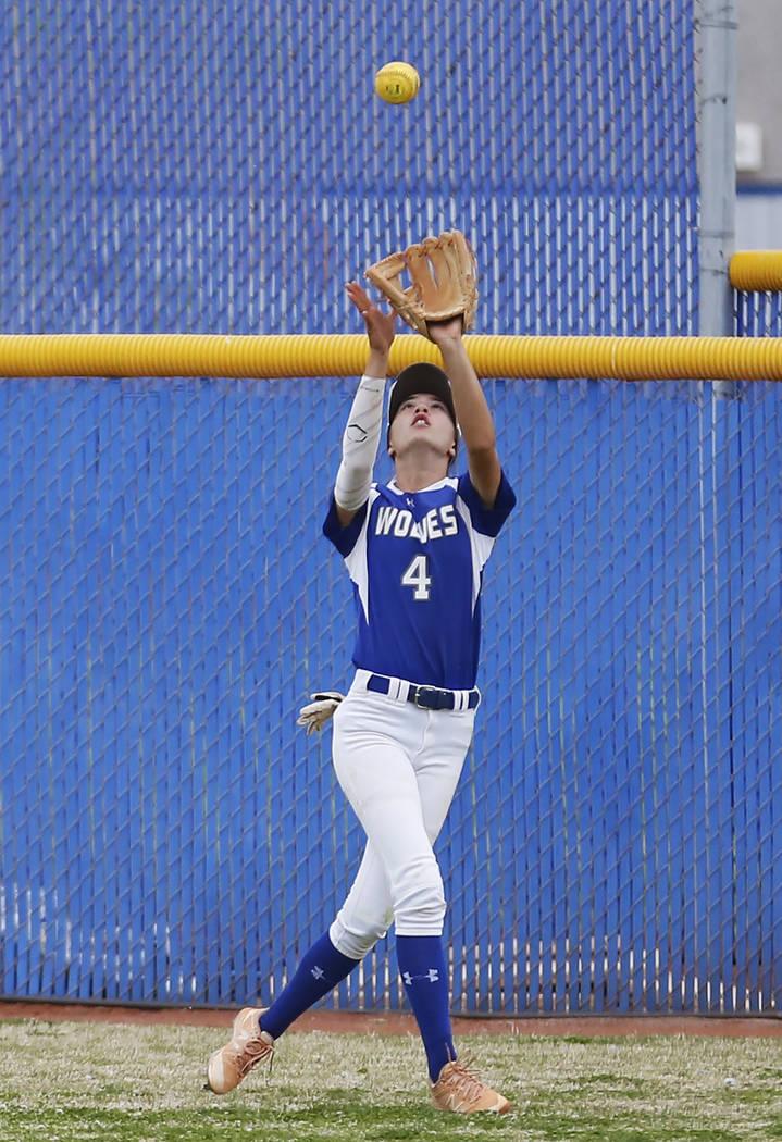 Basic's centerfielder Lauren Koshak (4) catches a fly ball against Coronado during the fourth inning at Basic High School in Henderson on Friday, April 6, 2018. Basic won 4-3. Andrea Cornejo Las V ...