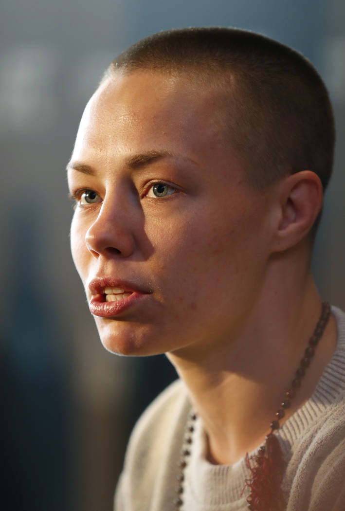 UFC strawweight champion Rose Namajunas speaks to reporters during UFC223's media day, Thursday, April 5, 2018, in New York, ahead of her fight against Joanna Jedrzejczyk, Saturday, April 7th, at  ...