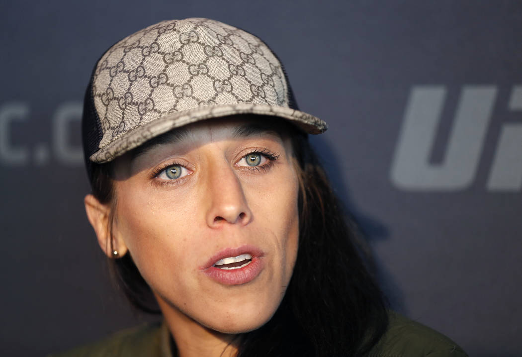 Joanna Jedrzejczyk, who will challenge UFC strawweight champion Rose Namajunas on Saturday, speaks to reporters, Thursday, April 5, 2018, during UFC223's media day at the Barclay's Center in New Y ...