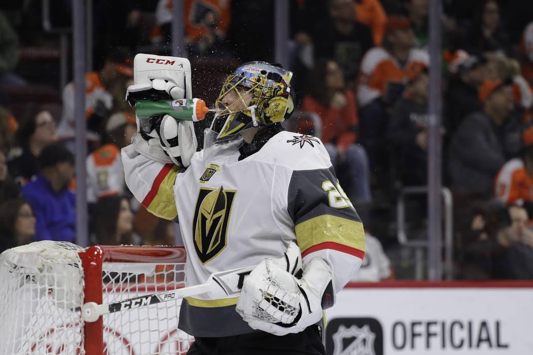 Vegas Golden Knights' Marc-Andre Fleury in action during an NHL hockey game against the Philadelphia Flyers, Monday, March 12, 2018, in Philadelphia. Vegas won 3-2. (AP Photo/Matt Slocum)