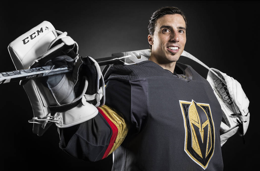 Golden Knights goaltender Marc-André Fleury at City National Arena on Thursday, September 14, 2017,  in Las Vegas. Benjamin Hager Las Vegas Review-Journal @benjaminhphoto
