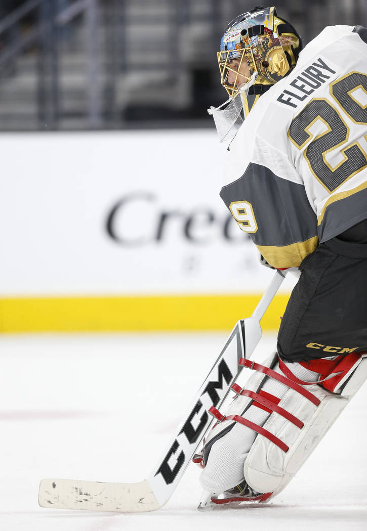 Vegas Golden Knights goaltender Marc-Andre Fleury (29) protects his net during the second period of an NHL hockey game between the Vegas Golden Knights and the Anaheim Ducks at T-Mobile Arena in L ...