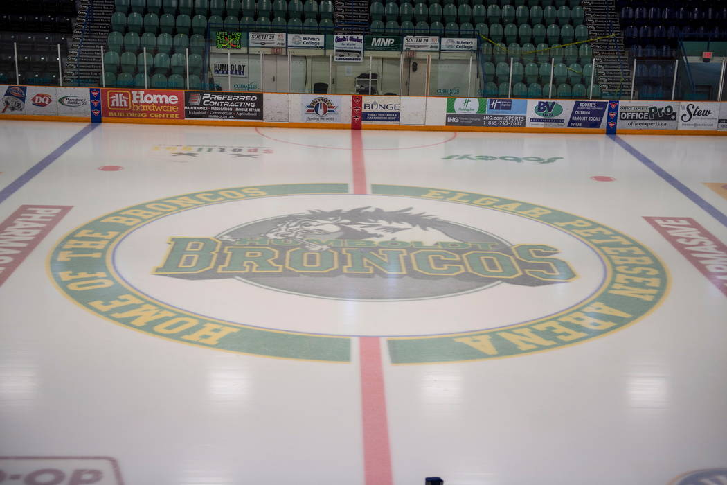 This Saturday, April 7, 2018 photo shows Elgar Petersen Arena, home of the Humboldt Broncos, in Humboldt, Saskatchewan, Canada,  Saturday, April 7, 2018. Canadian police said early Saturday that s ...