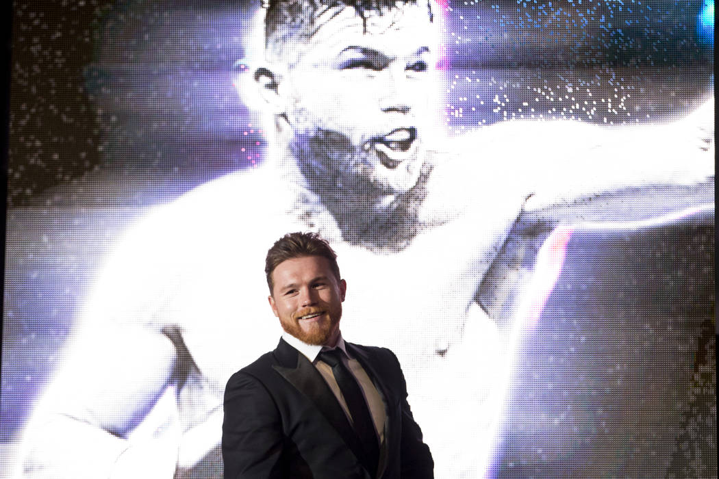 "Saul ""Canelo"" Alvarez during a press conference for his upcoming fight, at Microsoft Square in Los Angeles, Calif., Tuesday, Feb. 27, 2018. Erik Verduzco Las Vegas Review-Journal @Erik_V ..."