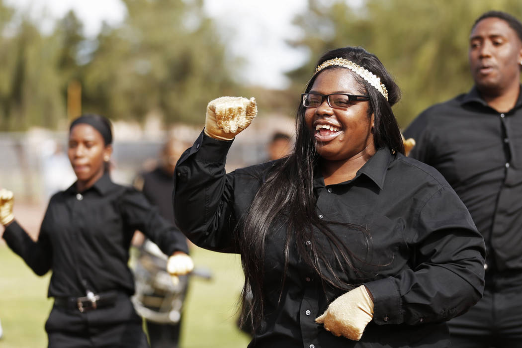 Tatianna Price, a dancer with the Las Vegas High Steppers, performs with her group during the Bolden Little League's Opening Day at Doolittle Field in Las Vegas on Saturday, April 7, 2018. Andrea  ...