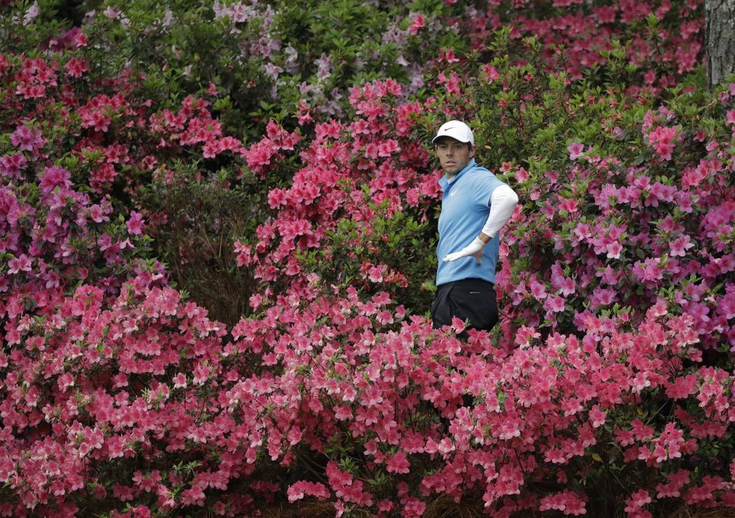 Rory McIlroy, of Northern Ireland, looks for a shot from the azaleas on the 13th hole during the third round at the Masters golf tournament Saturday, April 7, 2018, in Augusta, Ga. (AP Photo/David ...