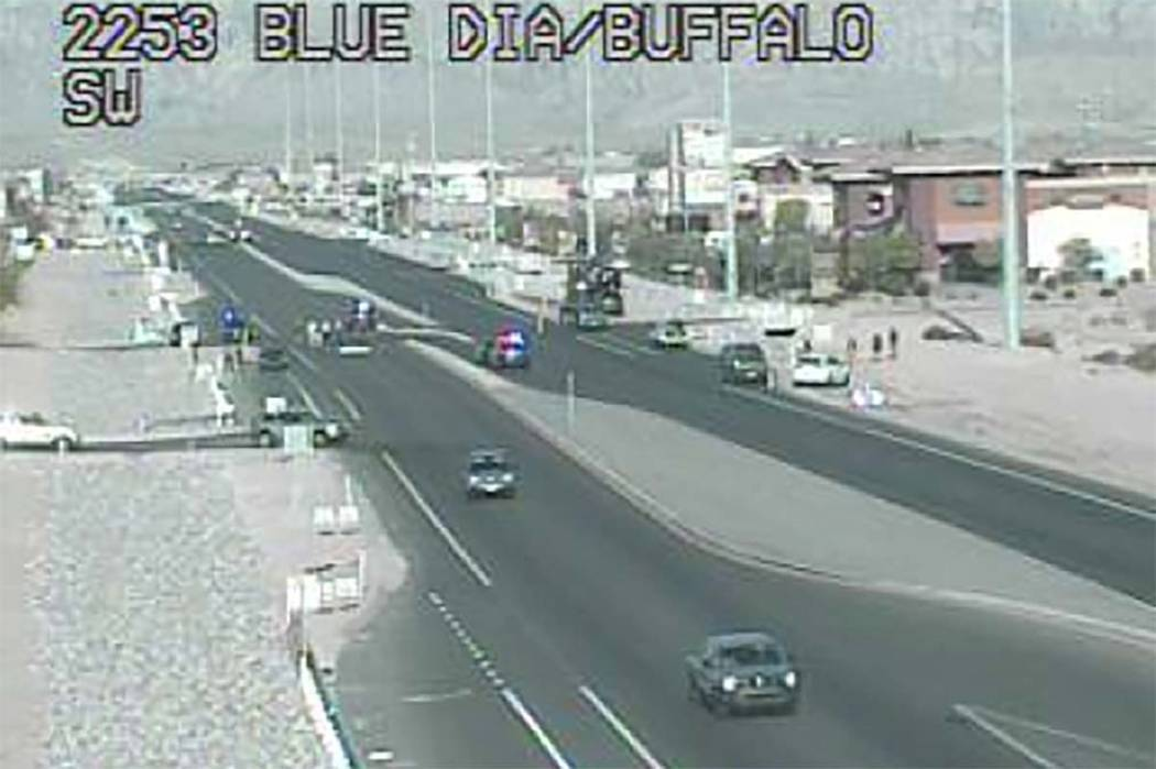A pedestrian was hit and killed on Blue Diamond Road, between Buffalo Drive and Cimarron Road, early Sunday, April 8, 2018. (RTC Fast Cameras)