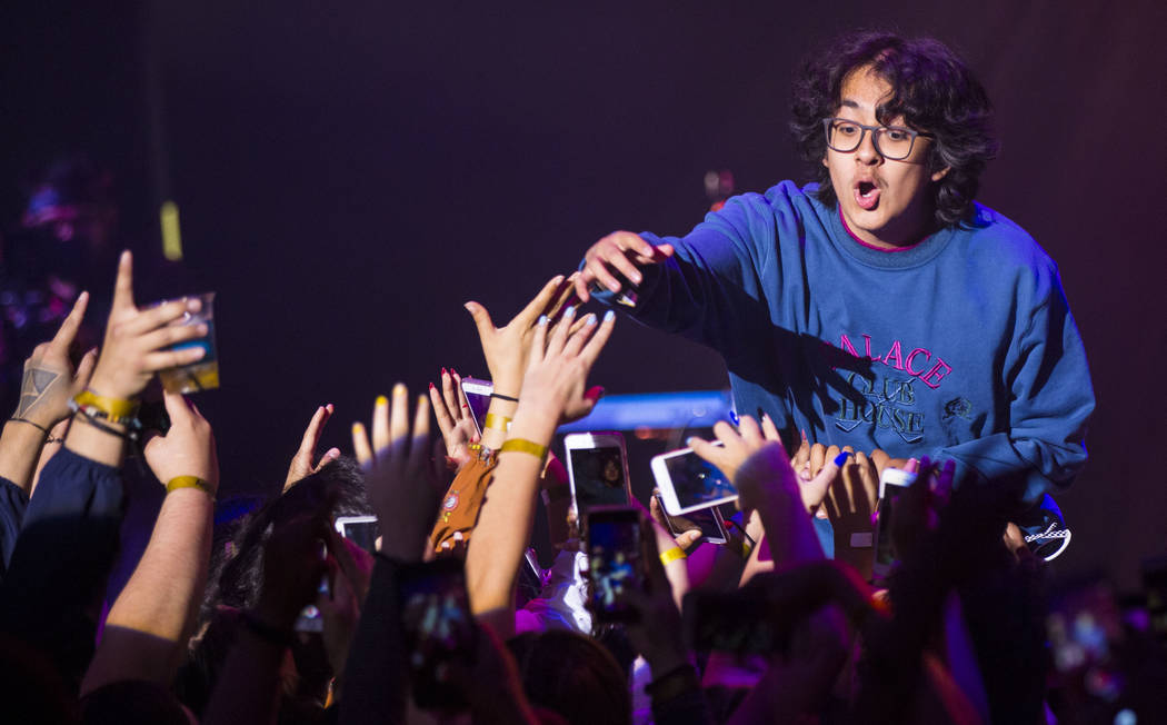 Cuco performs at the Mat Franco Theater during the inaugural Emerge Music + Impact festival at The Linq Hotel in Las Vegas on Sunday, April 8, 2018. Chase Stevens Las Vegas Review-Journal @cssteve ...