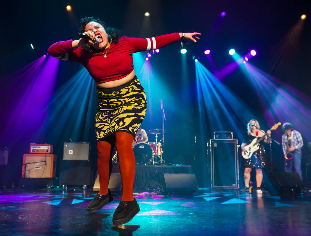 Victoria Ruiz of Downtown Boys performs at the Mat Franco Theater during the inaugural Emerge Music + Impact festival at The Linq Hotel in Las Vegas on Saturday, April 7, 2018. Chase Stevens Las V ...