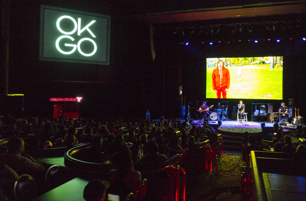 OK Go performs during the inaugural Emerge Music + Impact festival at The Flamingo in Las Vegas on Sunday, April 8, 2018. Chase Stevens Las Vegas Review-Journal @csstevensphoto
