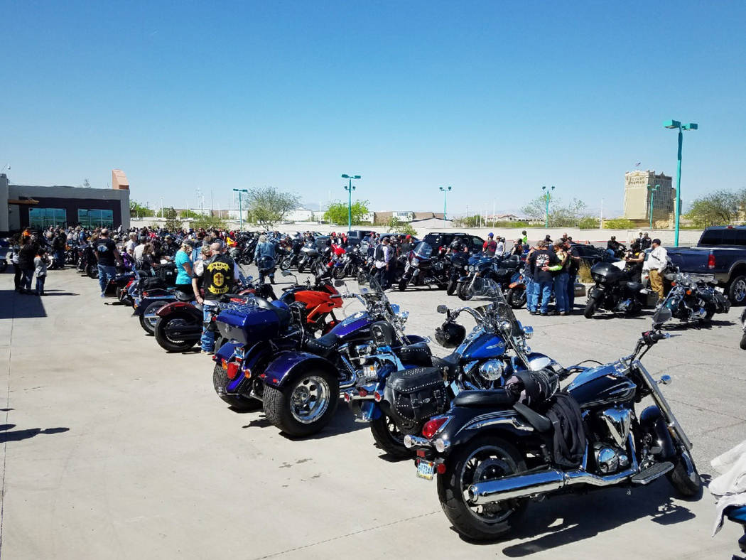 More than 200 motorcyclists gathered at the Henderson Harley-Davidson on Sunday, April 8, 2018, to have their bikes blessed to kick off the bike season. (Jason Carlson)