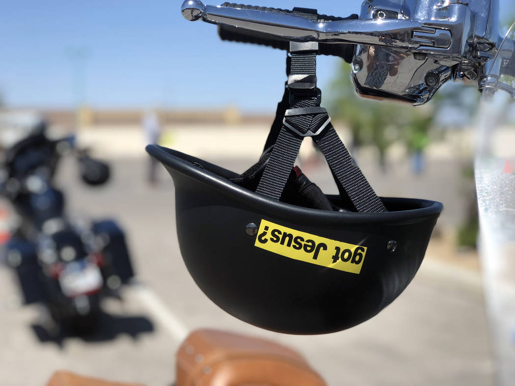 Five Christian motorcycle riding groups came together at the Henderson Harley-Davidson on Sunday, April 8, 2018, to have their motorcycles blessed as bike season kicks off. (Rio Lacanlale/Las Vega ...