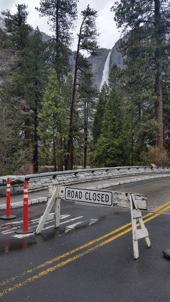 Roads in Yosemite Valley were affected by high water in Yosemite, Calif., on Saturday.