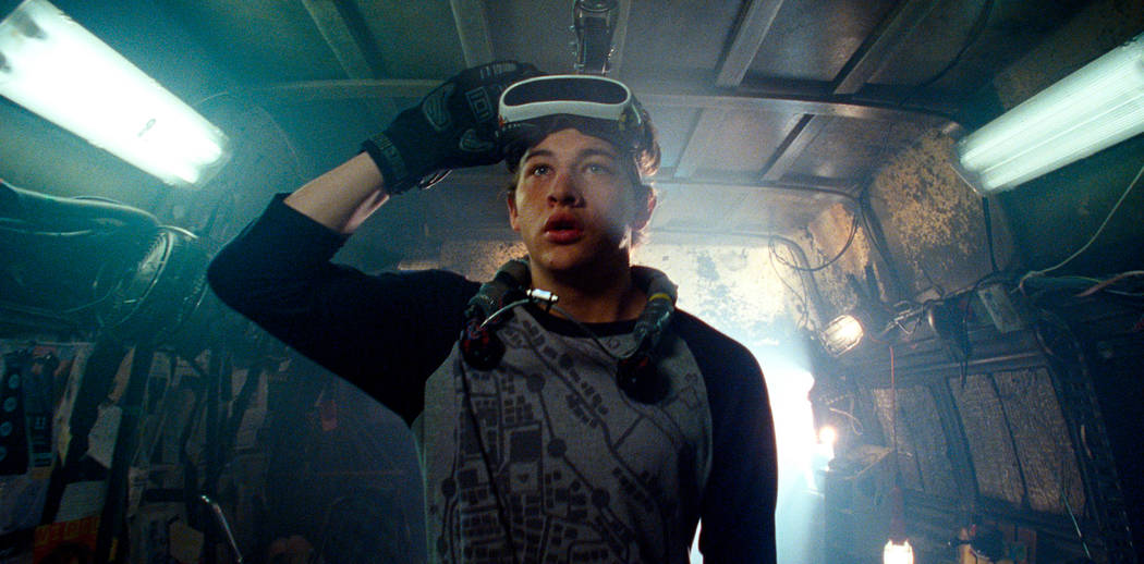 """Tye Sheridan in a scene from """"Ready Player One,"""" a film by Steven Spielberg. (Warner Bros. Pictures via AP)"""