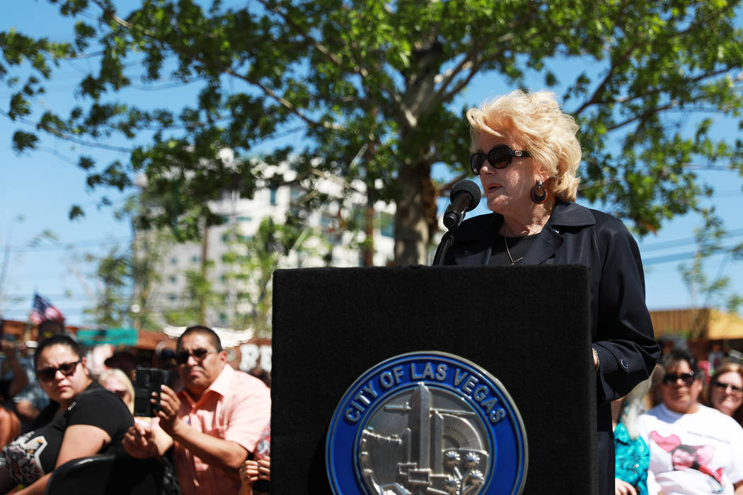 Las Vegas Mayor Carolyn Goodman addresses the crowd during a commemorative butterfly release ceremony for those lost or affected by the Oct.1 shooting at the Healing Garden in Las Vegas on Sunday, ...