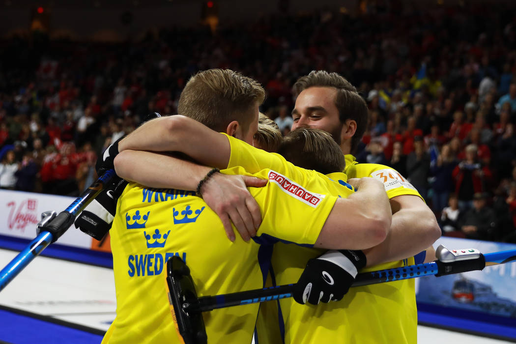 Team Sweden celebrates after defeating Canada in the World Men's Curling Championship at the Orleans Arena in Las Vegas on Sunday, April 8, 2018. Andrea Cornejo Las Vegas Review-Journal @dreacornejo