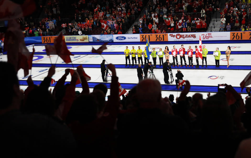 Team Sweden and team Canada greet their fans during the World Men's Curling Championship at the Orleans Arena in Las Vegas on Sunday, April 8, 2018. Andrea Cornejo Las Vegas Review-Journal @dreaco ...