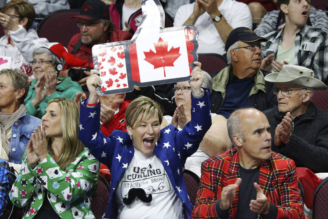 Fans cheer for Canada during the World Men's Curling Championship against Sweden at the Orleans Arena in Las Vegas on Sunday, April 8, 2018. Andrea Cornejo Las Vegas Review-Journal @dreacornejo