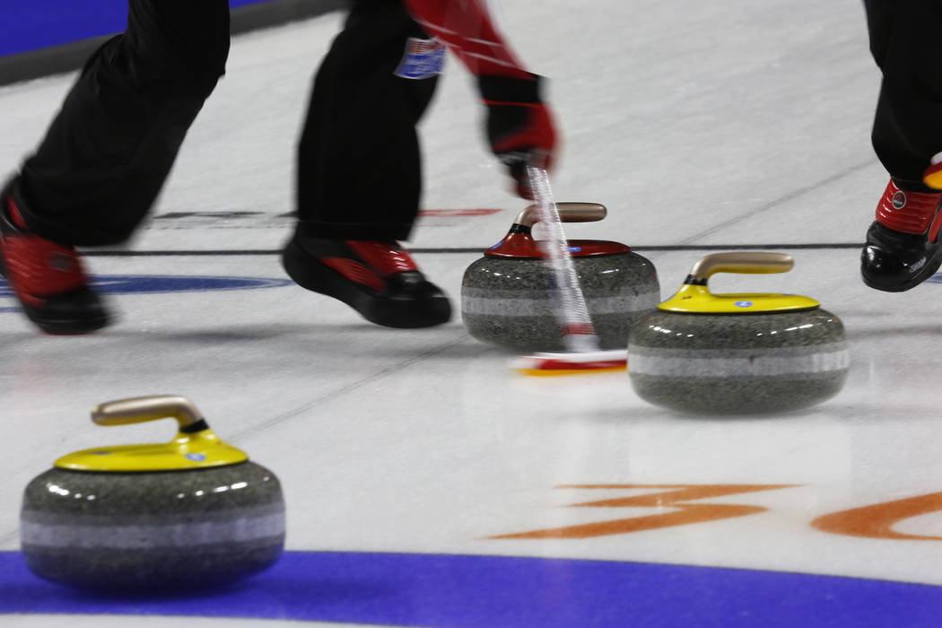 Team Canada sweeps against Sweden during the World Men's Curling Championship at the Orleans Arena in Las Vegas on Sunday, April 8, 2018. Andrea Cornejo Las Vegas Review-Journal @dreacornejo