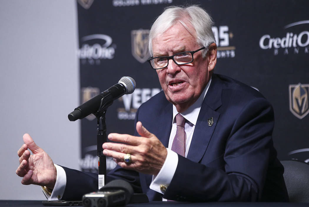 Vegas Golden Knights owner Bill Foley speaks between periods as his team plays the Arizona Coyotes in an NHL hockey game at T-Mobile Arena in Las Vegas on Tuesday, Oct. 10, 2017. Chase Stevens Las ...