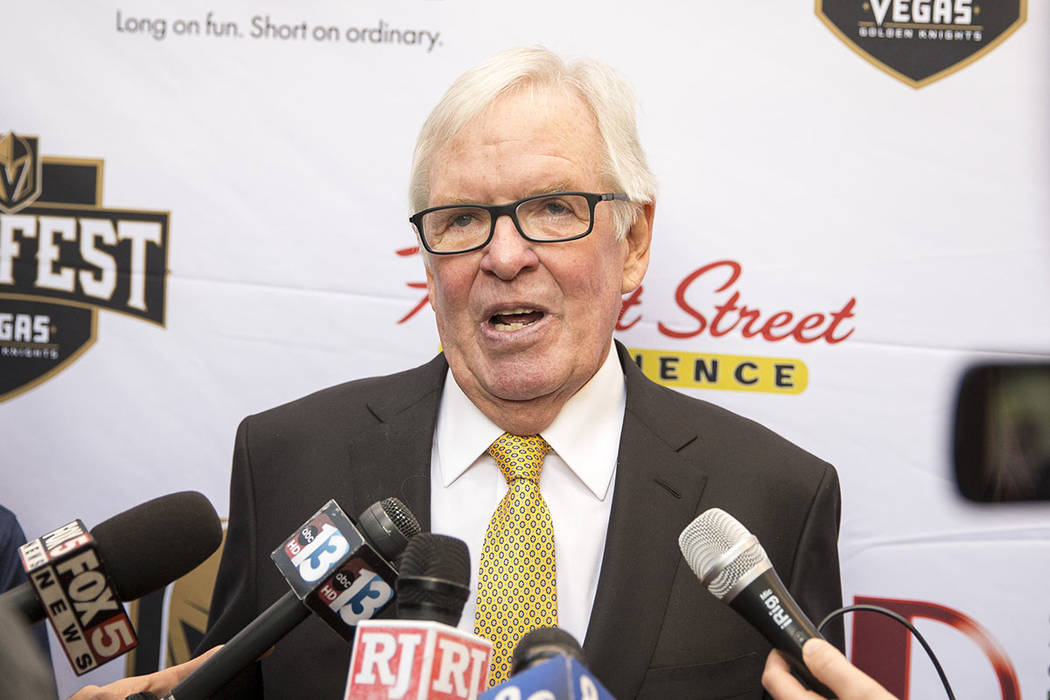 Vegas Golden Knights owner Bill Foley speaks to the media during the team's first fan fest at the Fremont Street Experience in downtown Las Vegas on Sunday, Jan. 14, 2018. Richard Brian Las Vegas  ...