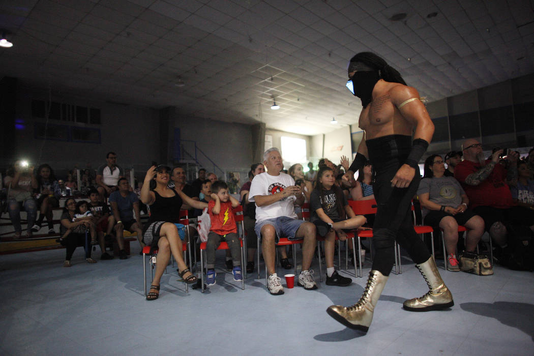 Aries Monz walks in front of the crowd before his match at a Lucha Libre show at the Sahara Event Center in Las Vegas, Sunday, April 8, 2018. Rachel Aston Las Vegas Review-Journal @rookie__rae