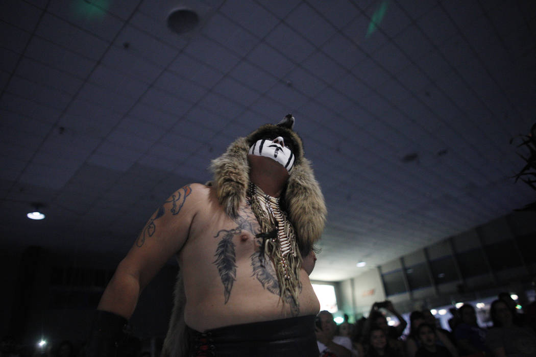 Wild Horse eyes his opponent at a Lucha Libre show at the Sahara Event Center in Las Vegas, Sunday, April 8, 2018. Rachel Aston Las Vegas Review-Journal @rookie__rae