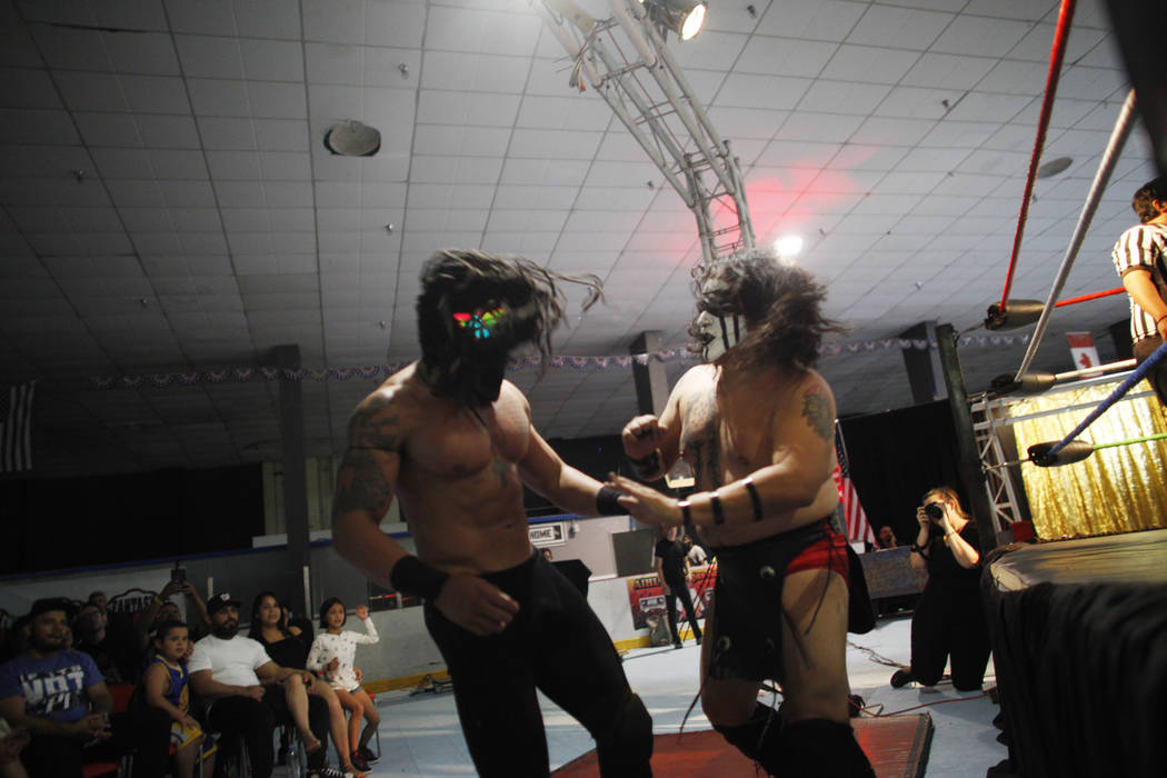 Adonis Monz reacts after being hit by Wild Horse at a Lucha Libre show at the Sahara Event Center in Las Vegas, Sunday, April 8, 2018. Rachel Aston Las Vegas Review-Journal @rookie__rae